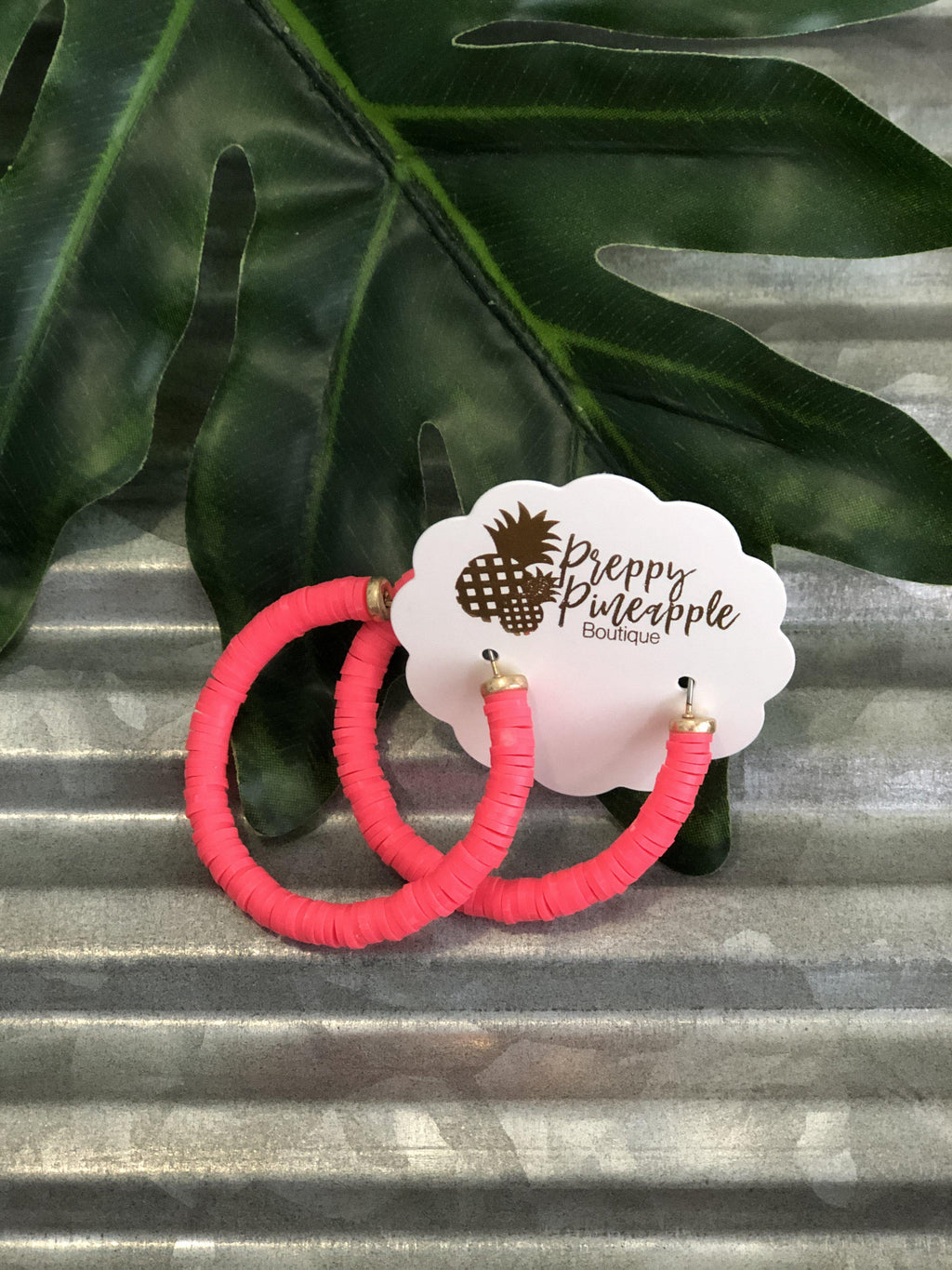 Rubber Bead Hoops - Preppy Pineapple