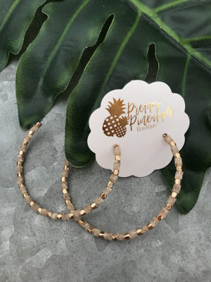 Rubber Bead Metal Charm Hoops - Preppy Pineapple