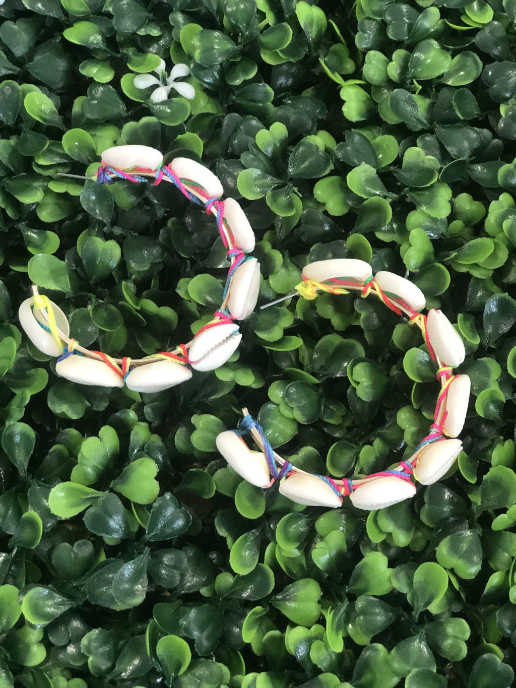 Multi Cowry Shell Wrapped Open Hoops - Preppy Pineapple