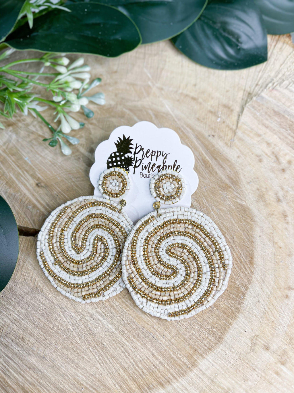 Spiral Pattern Bead Disk Earrings