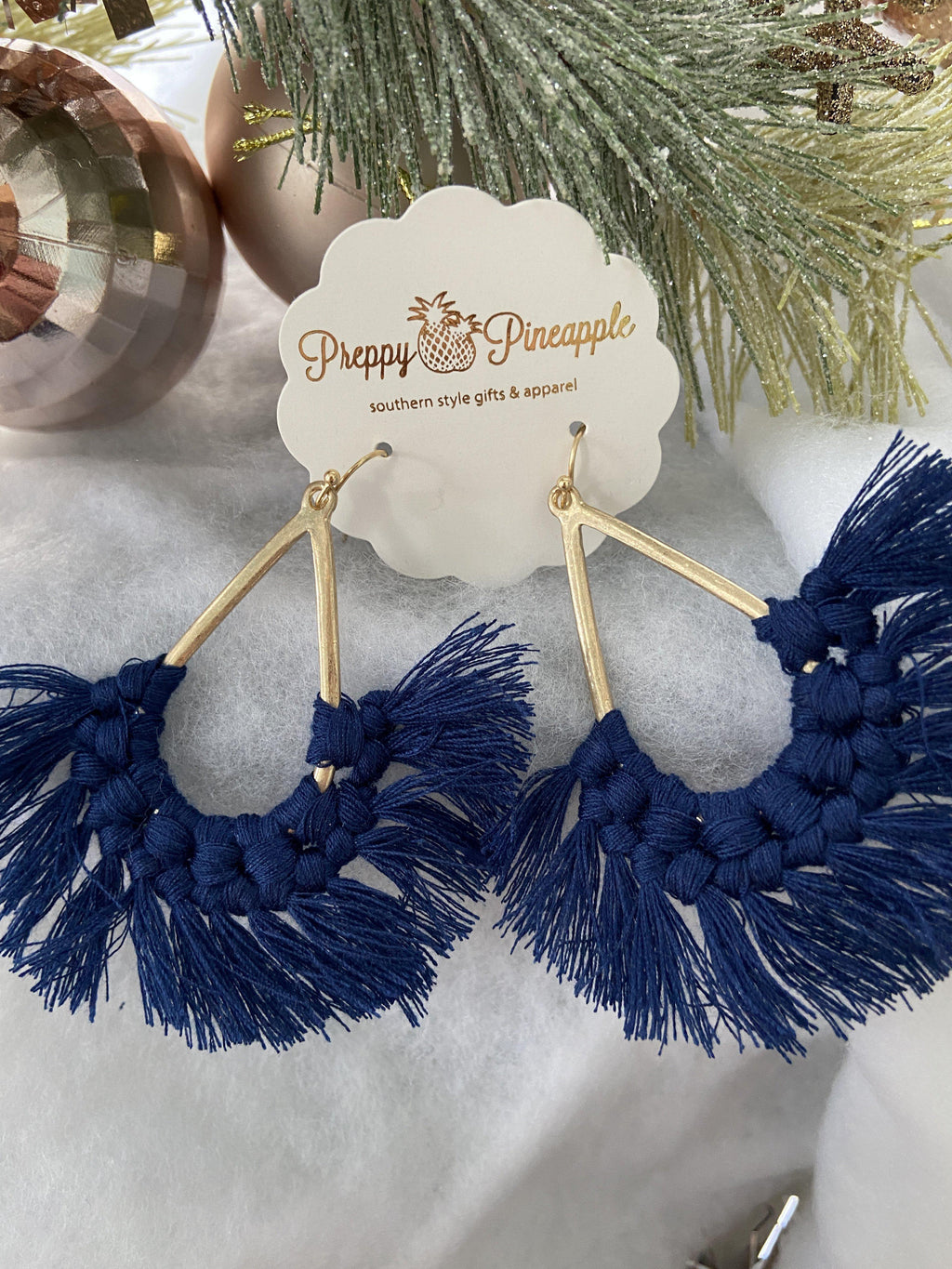 Teardrop Tassel Earrings - Preppy Pineapple
