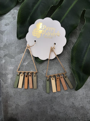 Triangle & Wood Bars Earrings - Preppy Pineapple