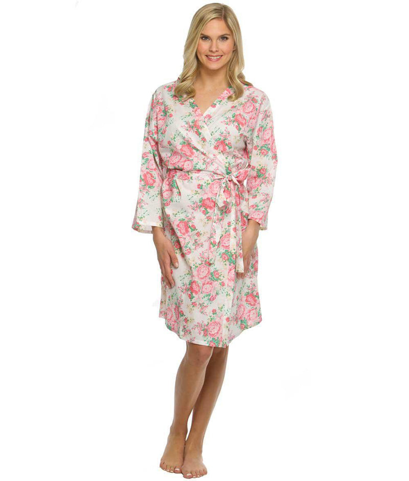 White Cotton Peony Floral Robe - Preppy Pineapple