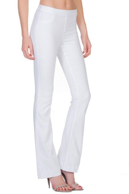 White Heather High-Rise Pull On Flare Jegging