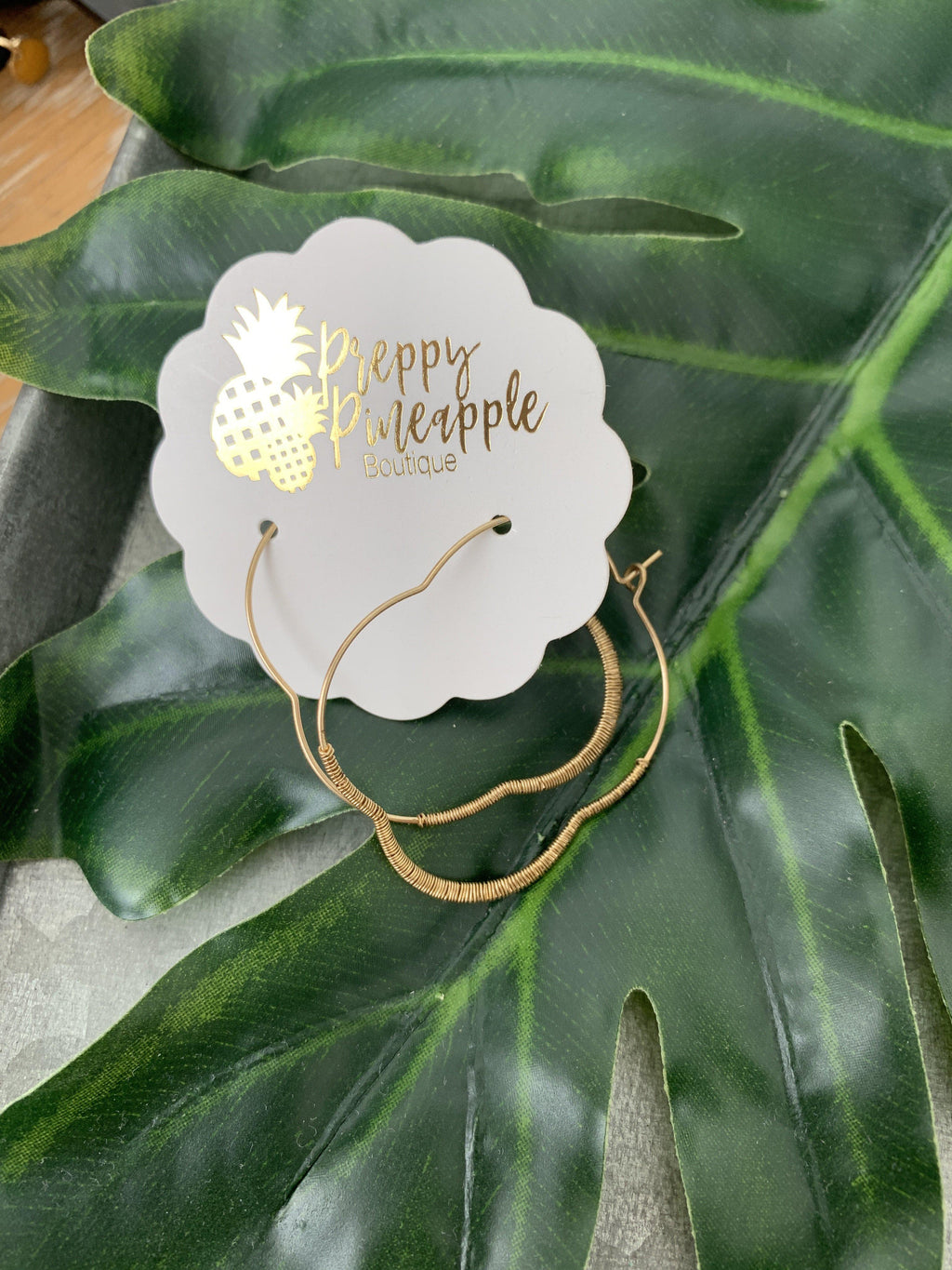 Wire Wrapped Clover Hoops - Preppy Pineapple