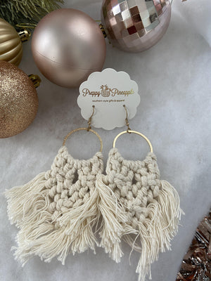 Golden Stella | Woven Fan Dangle Earrings | - Preppy Pineapple Boutique