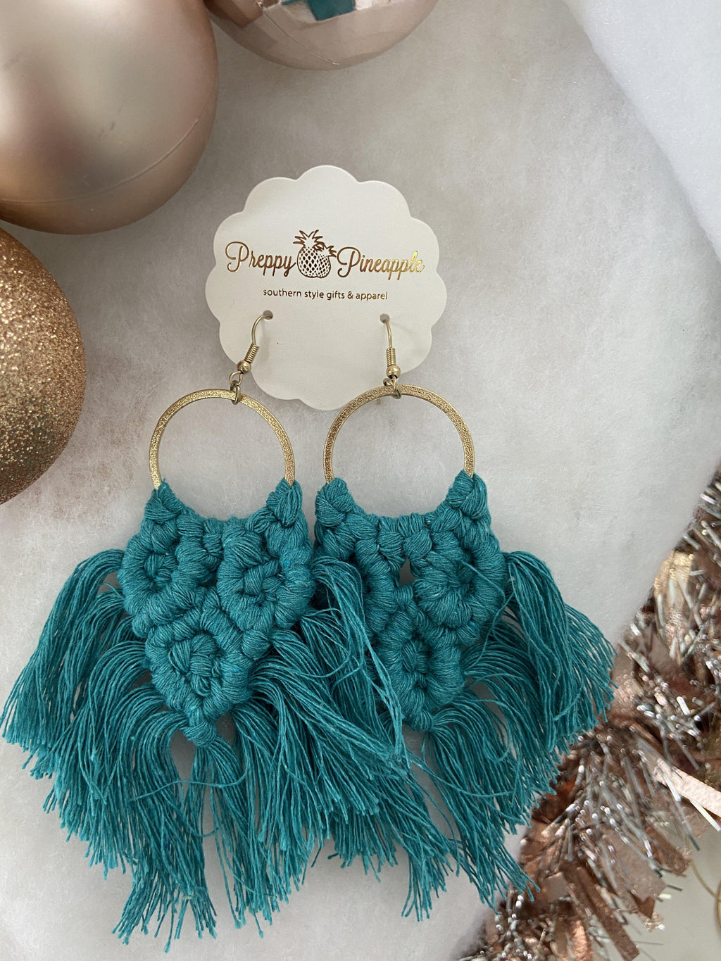 Woven Fan Dangle Earrings - Preppy Pineapple