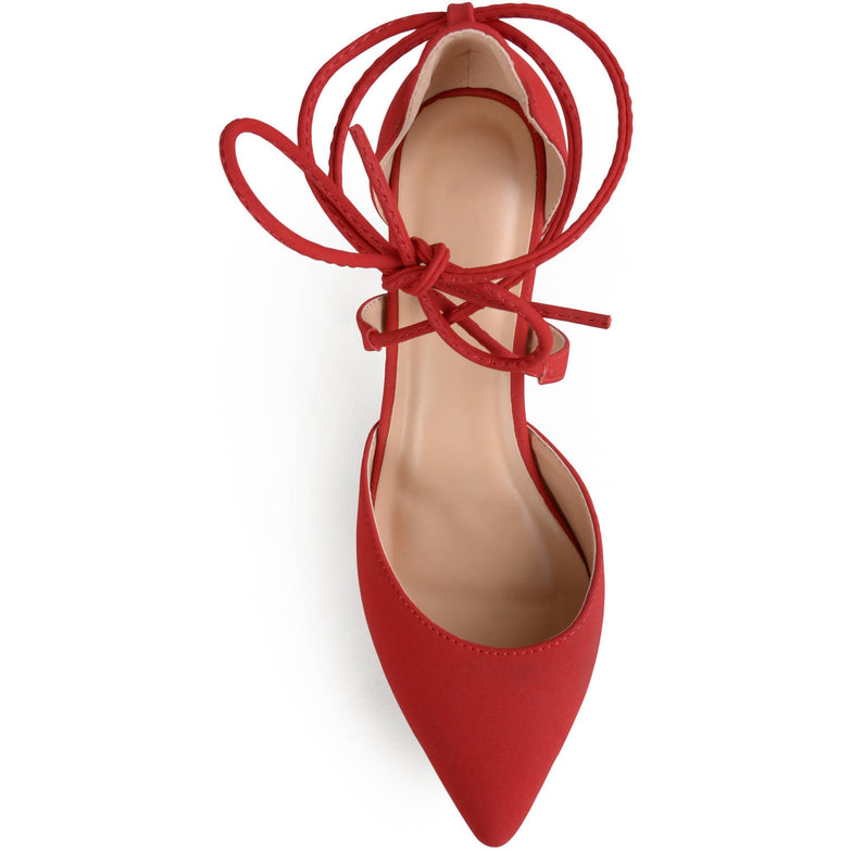 Brinley Co. Womens Pointed Toe Lace-up Ankle Strap Pumps - unitedstatesgoods