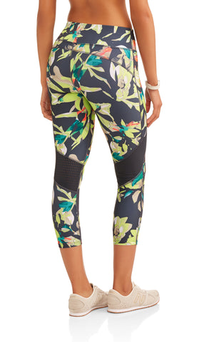 Women's Active Allover Print Performance Capri Legging with Mesh Inserts - unitedstatesgoods