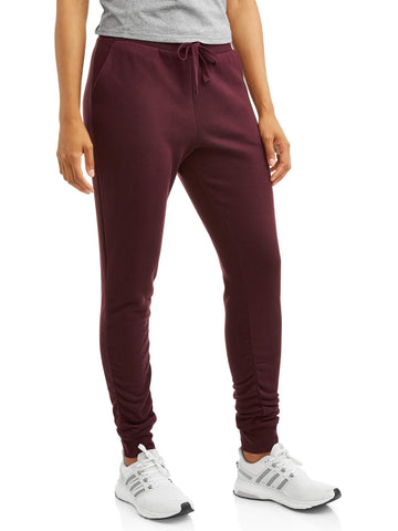 Avia Women's Active Cold Weather Ruched Ankle Fleece Jogger Pant with Front Pockets - unitedstatesgoods