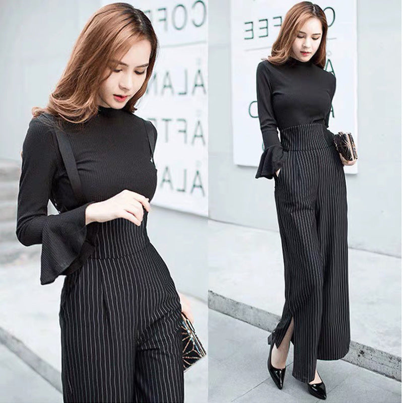 High Waist Striped Jumpsuit