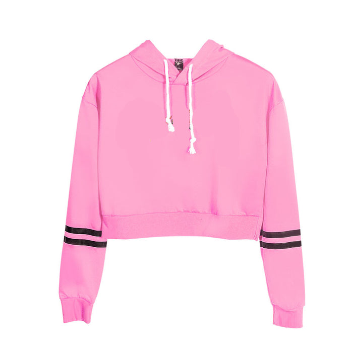 high-waisted navel sportswear hooded sweater