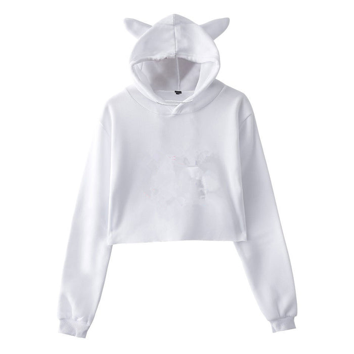 Women's Cat Ear Hooded Short-Sleeved Sweater