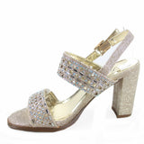 Jain-17 Women's Sexy Gemstone Perforated Slingback Chunky Heels Dress Shoes - unitedstatesgoods