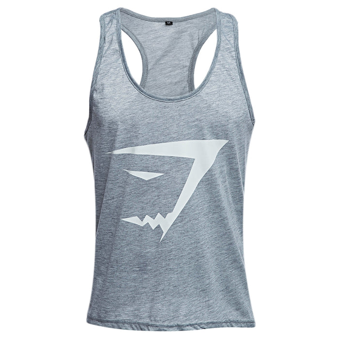 Active Scoop Collar Printed Cotton Blend Racerback Gym Tank for Men - unitedstatesgoods