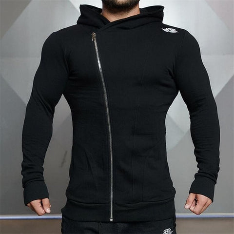 2018 Fashion Cotton Hoodies Men Fitness Hip Hop Mens Brand Solid Hooded Zipper Hoodie Cardigan Sweatshirt Slim Fit Men Hoody - unitedstatesgoods