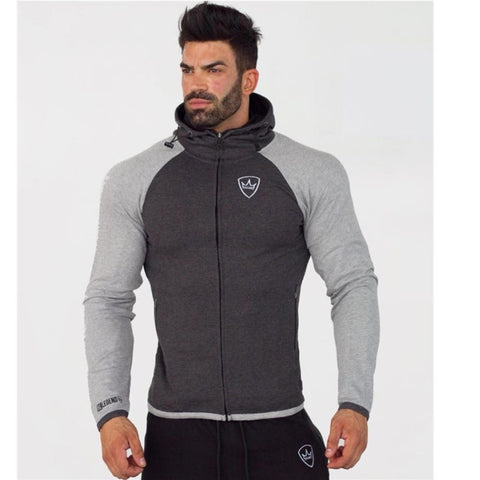 2018 Men gyms Hoodies Brand Clothing Men Hoody Zipper Casual Sweatshirt Muscle Men's Slim Fit Fitness hooded Jackets - unitedstatesgoods