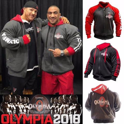 2018 OLYMPIA Mens zipper Hoodies Fashion Casual male gyms fitness Bodybuilding cotton Sweatshirt sportswear Brand top coat - unitedstatesgoods