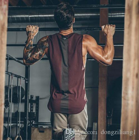 2018 Summer Newest Brand Mens Curved Hem Patchwork Gyms Stringers Vest HIgh Quailty Bodybuilding Clothing Fitness Man Tanks Tops