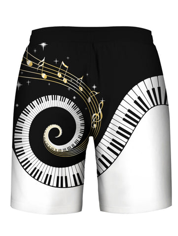 Piano Key Printed Sleeveless Hoodies Tank Top and Shorts - unitedstatesgoods