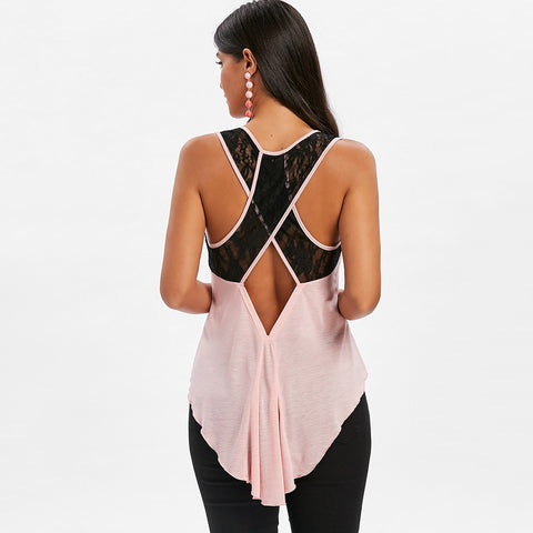 Lace Criss Cross Cut Out Back Tank Top - unitedstatesgoods