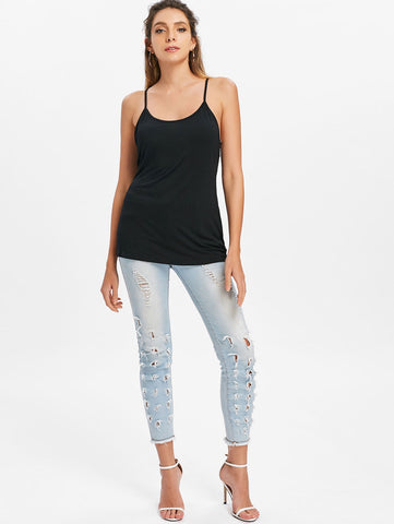 Lace Crochet Cut Out Tank Top - unitedstatesgoods