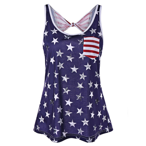 American Flag Backless Tank Top with Bowknot - unitedstatesgoods
