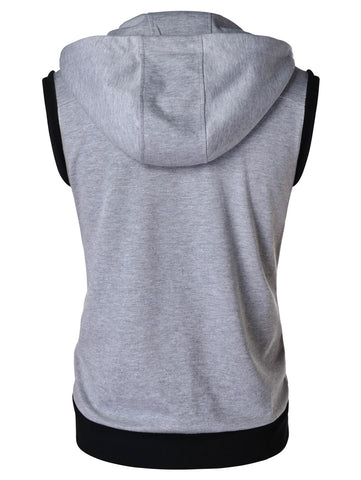 Zipper Sleeveless Hooded Tank Top - unitedstatesgoods