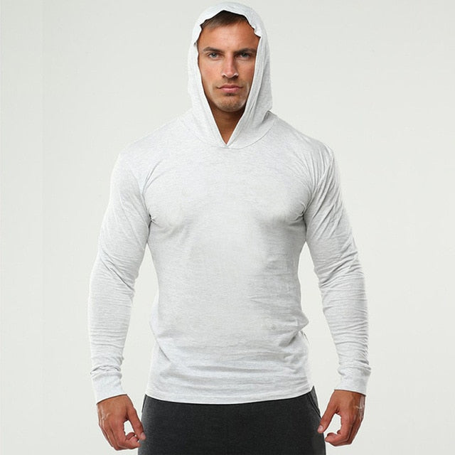 2019 Long Sleeve Fitness Hoodies Men Autumn Thin Sweatshirt Male Sporting Slim Fit Streetwear Solid Pullover Hoodie White Gray - unitedstatesgoods