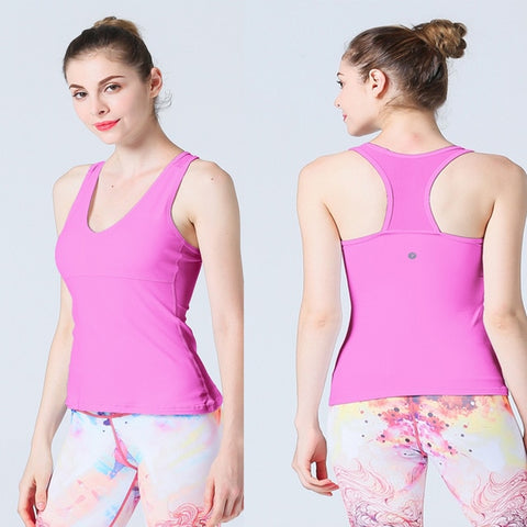 2019 Women Letter Strap Close Fitting Gym Tank Top High Elasticity Sports Clothing Running Yoga Jogging Fitness Vest - unitedstatesgoods