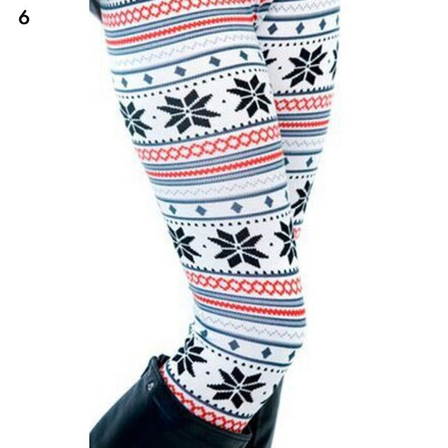 2019 Women's Thick Leggings Women girl casua Winter Christmas leggings Snowflake Knitted Elastic Leggings Fitness Cotton Pants - unitedstatesgoods