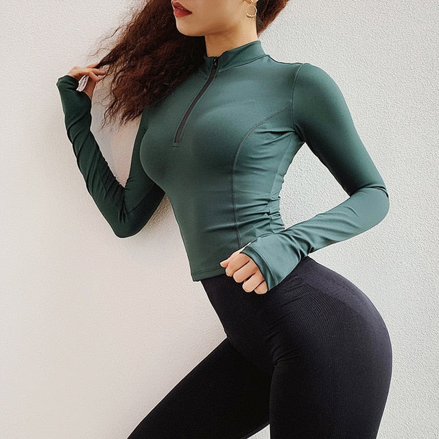 2019New Woman Half Zipper Yoga Top Long Sleeve T-shirt Gym Sexy Crop Tops Elastic Tight Running Sport T-Shirt Workout Yoga Shirt - unitedstatesgoods