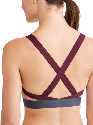 Womens Medium Impact Colorblock Elastic Strap Sports Bra