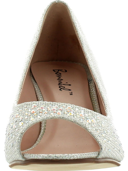 BONNIBEL WONDA-2 Women's Peep Toe Low Heel Glitter Slip On Dress Pumps - unitedstatesgoods