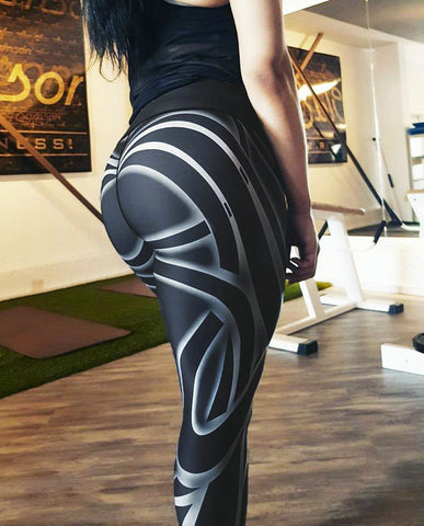 Black and white striped printed yoga pants