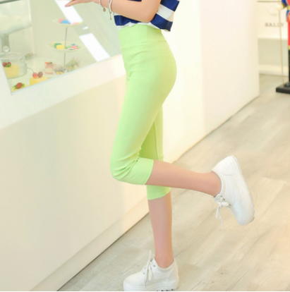 Summer new candy color cropped pants
