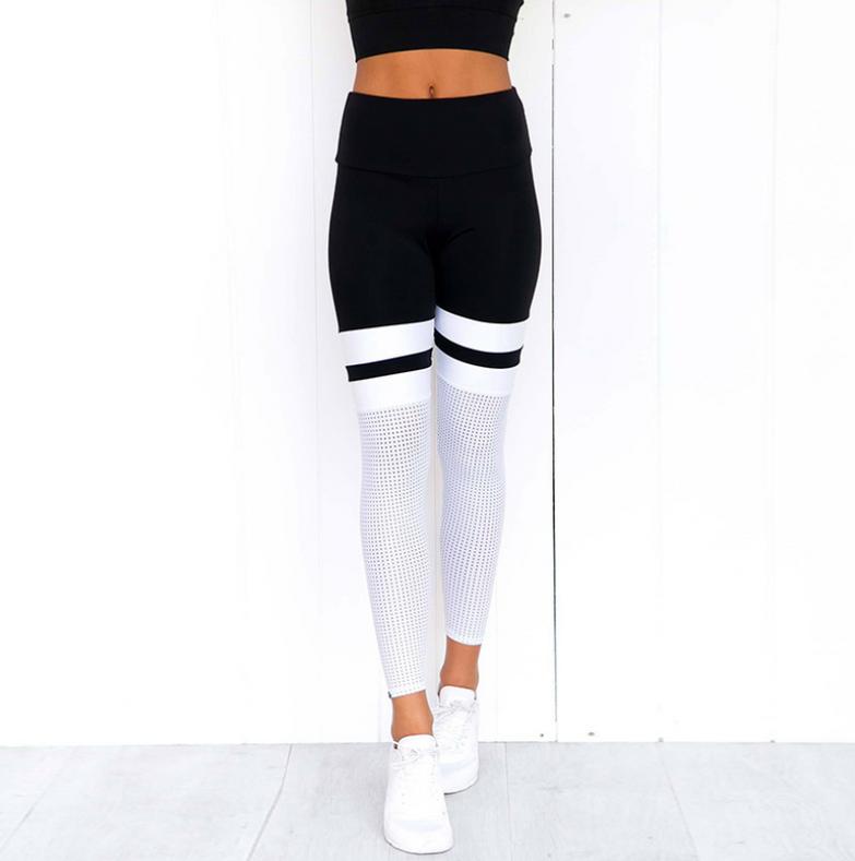 stitching hip breathable mesh yoga pants