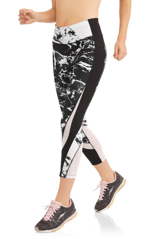 Women's Active Marble Print Capri Performance Legging - unitedstatesgoods