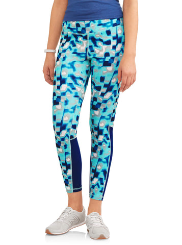Women's Active Allover Print Mesh Detail Performance Leggings - unitedstatesgoods