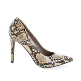 Lydia14 by Breckelle's, Pointed Toe Snake Print Slip On Stiletto Heel Dress Pumps - unitedstatesgoods