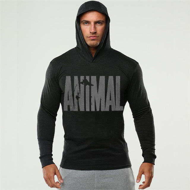 Animal Print Hooded Hoodies Thin Men Casual Sweatshirts Long Sleeve Slim Fitness Clothing Hoodie Sweatshirt Black White Tops - unitedstatesgoods