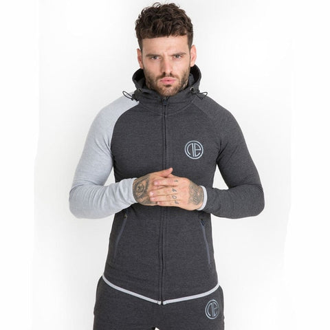 Autumn New Mens Skinny Hoodies Sweatshirts Male Gyms Fitness Bodybuilding Joggers Sportswear Casual Fashion Cotton Zipper Jacket - unitedstatesgoods
