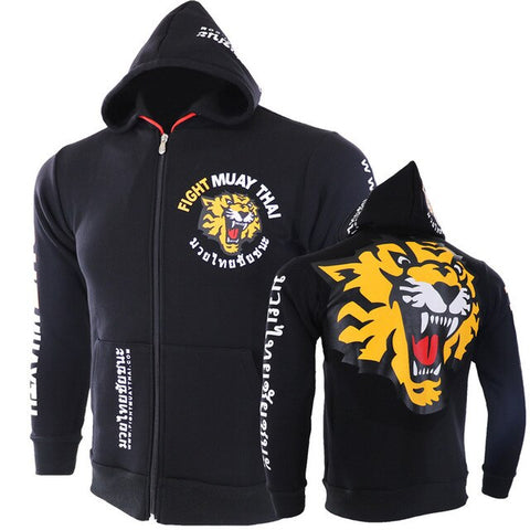 Autumn Winter Zipper Hooded Sweatshirts Tiger Printed Hoodie UFC Mixed Fighting Fitness Sweatshirts MMA Fight Training Jacket - unitedstatesgoods