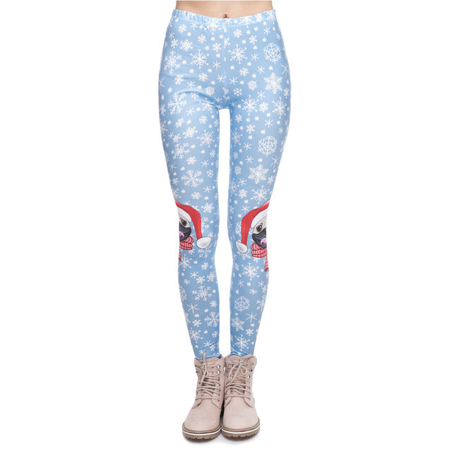 Christmas Series Women Legging Pug On Knees Printing Fitness Leggings Fashion High Waist Woman Pants - unitedstatesgoods