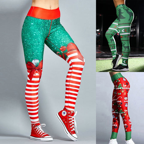 Christmas Yoga Pants women High Waist Elastic Gym Leggings Sport Fitness Sportswear Quick Dry Trousers Colorvalue Yoga Leggings