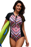 Diamond Striped Hourglass Rashguard Teddy Swimsuit - unitedstatesgoods