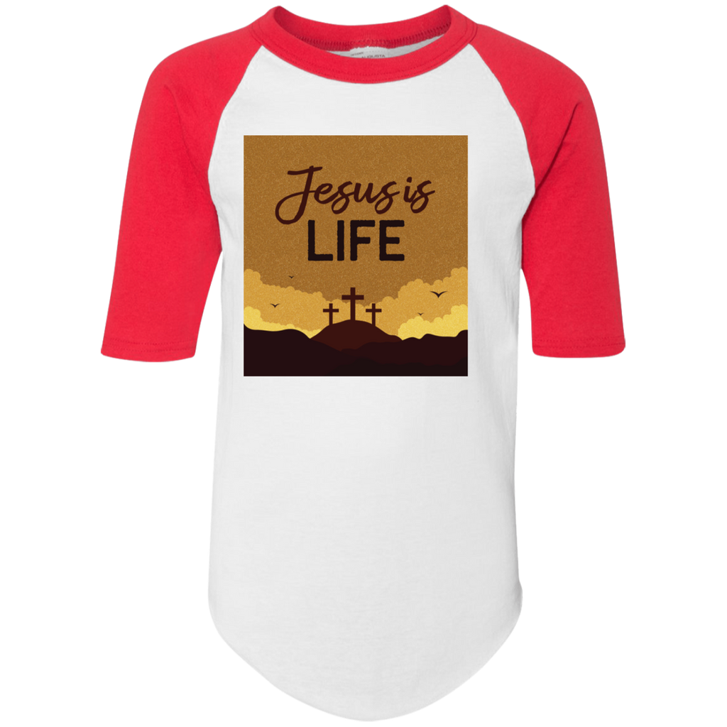 Jesus is life 4421 Youth Colorblock Raglan Jersey