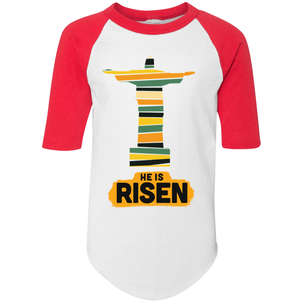 He is Risen 4421 Youth Colorblock Raglan Jersey