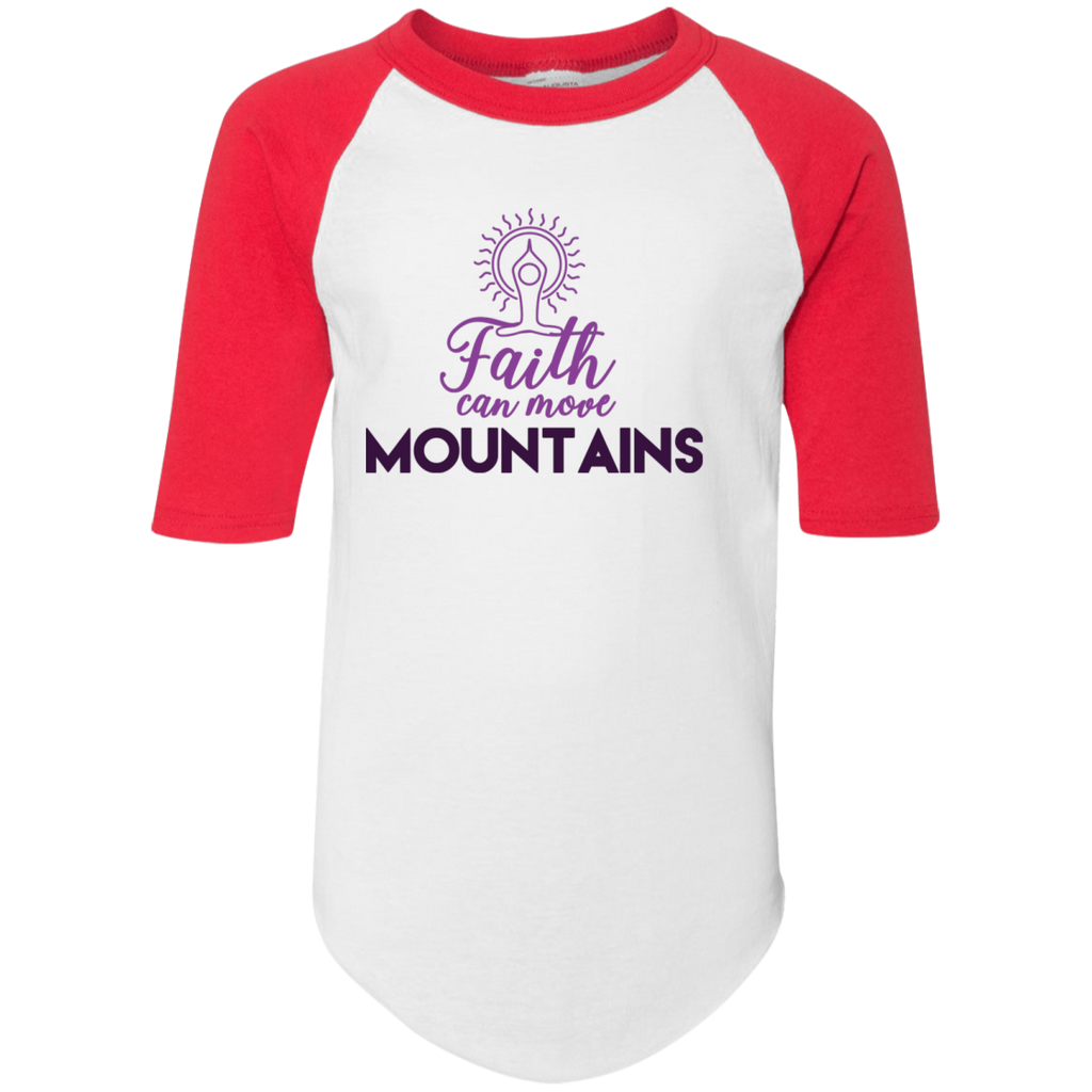 Faith can move mountains 4421 Youth Colorblock Raglan Jersey