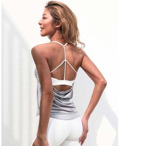 Fack two pcs women's inner padd yoga top tank woman sports long vests fitness running shirt  gym workout clothes - unitedstatesgoods